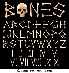 Bones Alphabet vector - Bones Alphabet and numbers vector