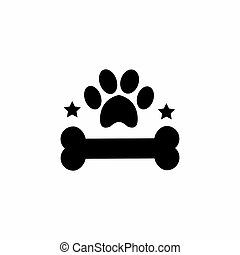bones and dog footprints logo