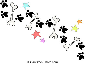 Bones and Paws Border Vector - This is a handy border of...