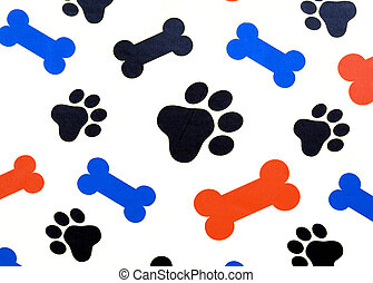 Colorful dog treat bones and paw prints over a white background