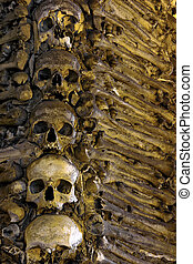Bones and Skulls - Photo of a wall in a chapel fully...