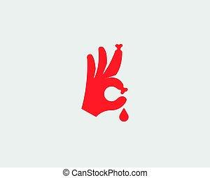 Bones fingers vector sign. Hand Ok blood symbol logotype icon. Humor optimism symbol