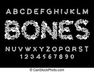 Bones font. Letters anatomy. Skeleton ABC. Skull and spine. Jaw and pelvis. Hell Scary alphabet