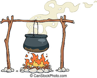 Bonfire - A pot on the fire vector illustration