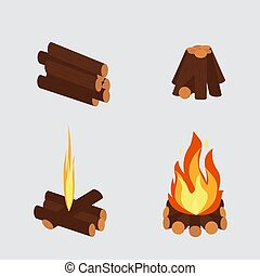 Bonfire and burning woodpile vector
