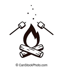 Bonfire and marshmallows - Black and white drawing of ...