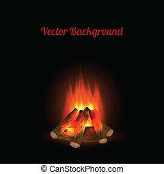 Bonfire on black background. Vector illustration