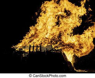 Bonfire - Blazing bonfire on Guy Fawkes night November the...
