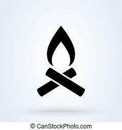 Bonfire campfire. vector Simple modern icon design illustration.