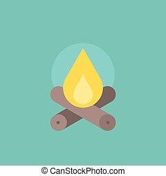 Bonfire, camping icon, flat design vector