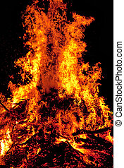 Close up of big fire with red and yellow flames