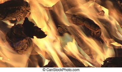 bonfire closeup - closeup of blazing flames in bonfire
