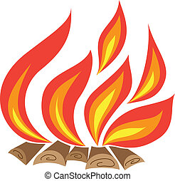 Bonfire isolated on white background. Vector illustration.