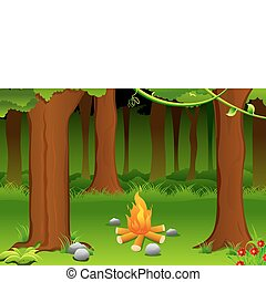 Bonfire - illustration of burning bonfire in forest with...