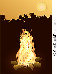 bonfire - background with an evening bonfire