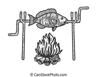 Bonfire fish sketch engraving vector illustration. T-shirt apparel print design. Scratch board imitation. Black and white hand drawn image.