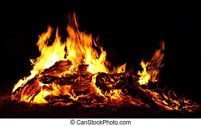 Bonfire flames - flaming bonfire in the dark
