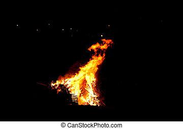 Bonfire - Guy Fawkes bonfire, Islay Scotland