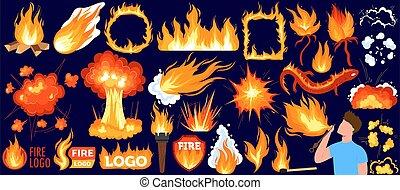Bonfire, hot flame of fire vector illustration set, cartoon ...