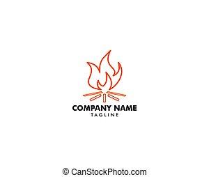 Bonfire icon logo vector illustration, Campfire logo