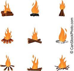 Bonfire icons set, cartoon style