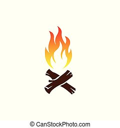bonfire illustration with a white background, vector, fire,