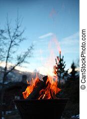 bonfire in dark close up