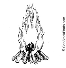 Ink black and white drawing of a bonfire
