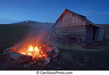 Bonfire near the house