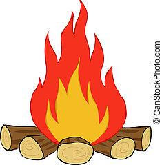 Bonfire on a white background, vector illustration