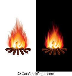 Bonfire on black and white background vector