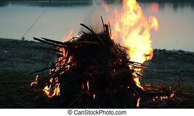 Bonfire on the lake