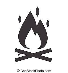 Bonfire Outline Icon - Camping fire outline icon. Bonfire...