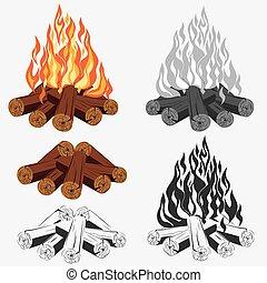Bonfire set - camping, burning woodpile - campfire - fireplace. Vector