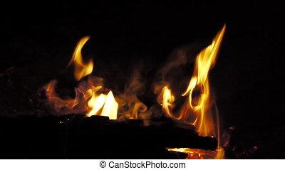 Bonfire burning brightly - Heat - Light - Camping