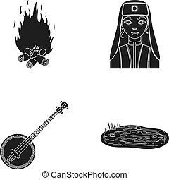Bonfire, Turkish woman and other web icon in black style. banjo, lake icons in set collection.