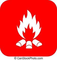 Bonfire vector sign - Bonfire vector red sign