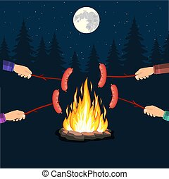 Bonfire with grill sausage,