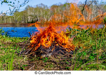 Bonfire with lake as background