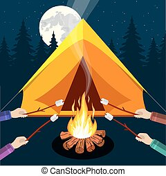 Bonfire with marshmallow. Logs and fire. Tent, forest, moon,...