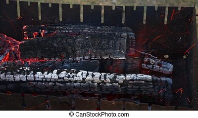 Bonfire wood fire flame in fireplace - Close up blaze of...