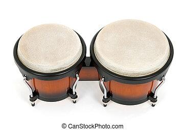 bongós, blanco, aislado