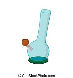 Bong for smoking icon in cartoon style on a white background