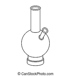 Bong icon in outline style isolated on white background. Drugs symbol stock vector illustration.