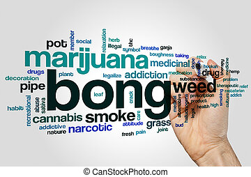 Bong word cloud concept on grey background