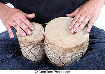 bongo, el teclear, manos
