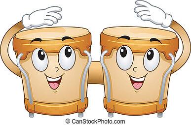 Bongo Mascot - Mascot Illustration of a Pair of Bongos...