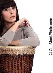 bongo, mujer, juego