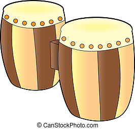 A set of bongos on a white background