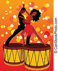bongos, paar, latijn, dancing